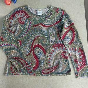 Talbot's L Crewneck Sweater Cotton Paisley Fall